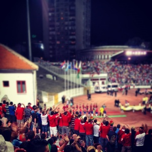 The players enter; Serbia v Wales