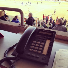 A phone used for commentary on Doncaaster Rovers v Tranmere