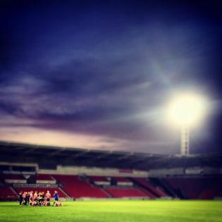 Doncaster Rovers Belles team huddle