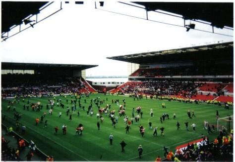 Celebrating Rovers at Stoke