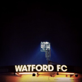 Floodlight at Vicarage Road, Watford vs Doncaster Rovers