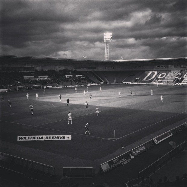 Doncaster Rovers playing against MK Dons at the Keepmoat Stadium