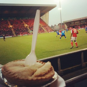 A pie, and mid match action from Crewe Alexandra v Doncaster Rovers