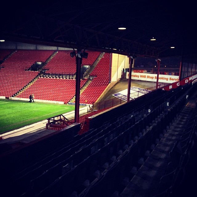 The last two supporters leave Oakwell after Barnsley v Doncaster Rovers.