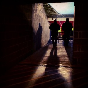 Fans head into the Keepmoat stadium for the second half of Doncaster Rovers versus Gillingham