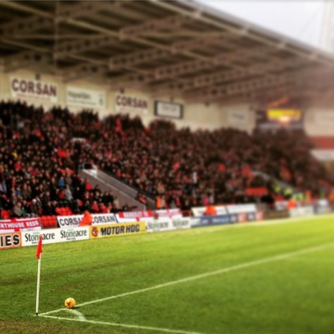 Corner flag and ball during Doncaster Rovers 1-0 win over Barnsley