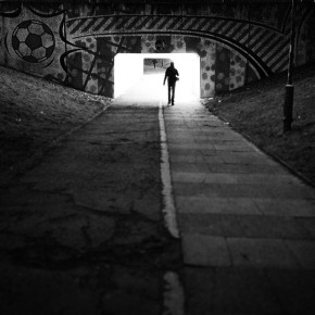 A man walking towards Crawley Town's ground for the game with Doncaster Rovers