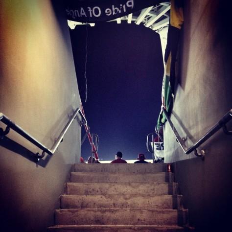 Entering the Sammy Ofer Stadium in Haifa, Israel