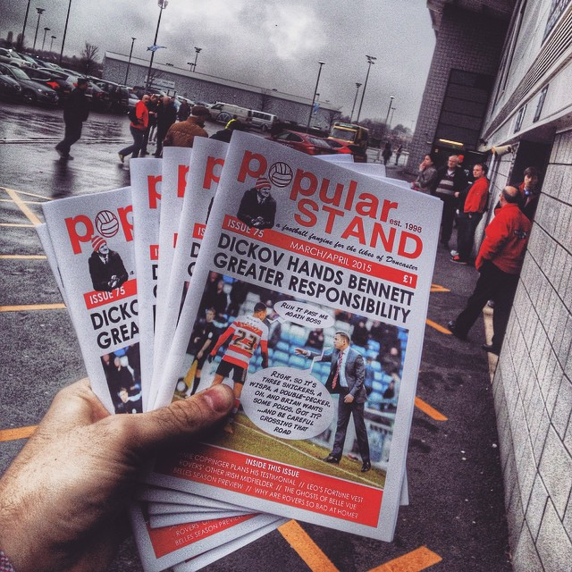 popular STAND fanzine being sold at Rovers' home match with Bradford in April 2015