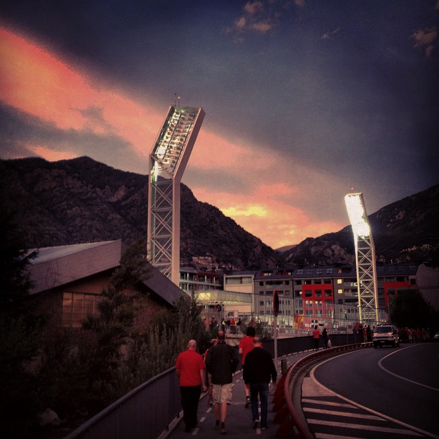 Wales fans walk towards the Estadi Nacional ahead of its opening match; Andorra versus Wales
