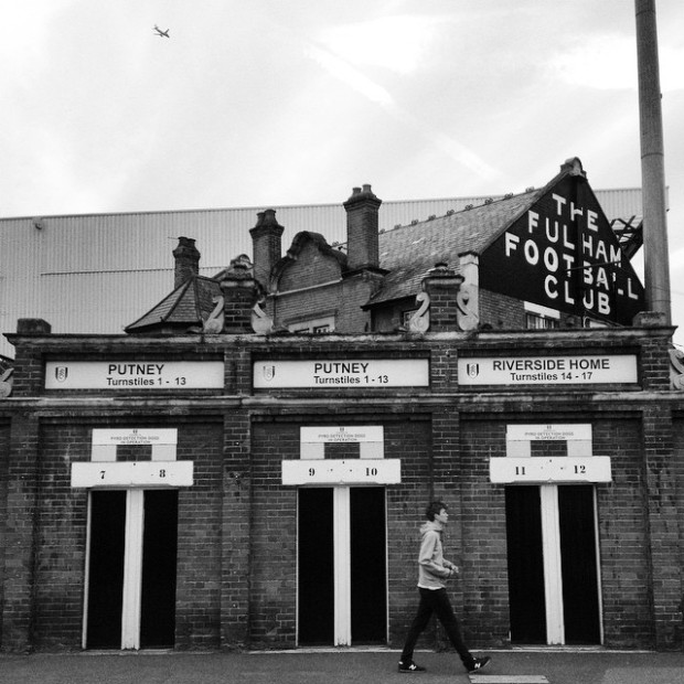 A supporter arrives at Craven Cottage for Fulham versus Doncaster Rovers in the League Cup
