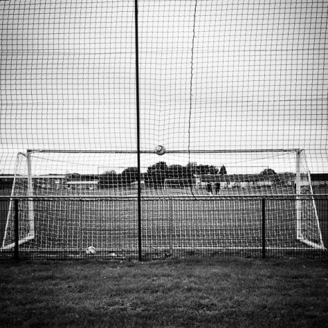 A ball left abandoned in the netting at Cardiff City versus Llandudno in the Welsh Womens Premier League
