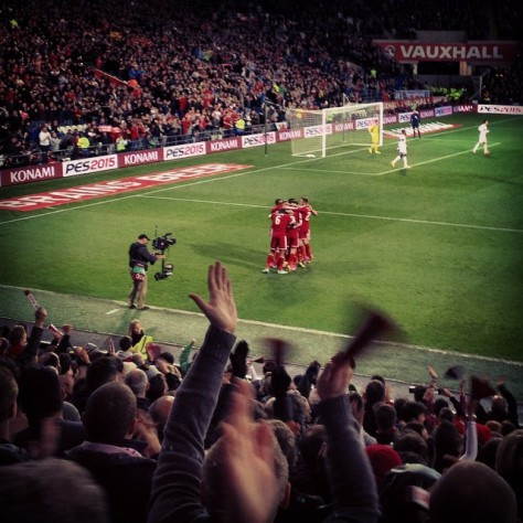 Wales players celebrate David Cotterill's goal against Cyprus