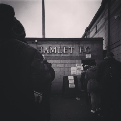 A queue at the turnstile at Champion Hill for Dulwich Hamlet versus Leatherhead