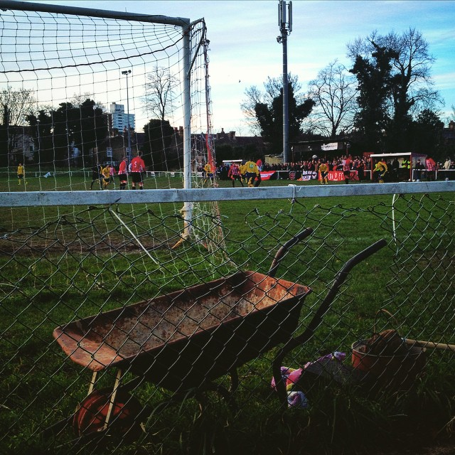 Clapton fans pack the Scaffold for the visit of Harringey Borough