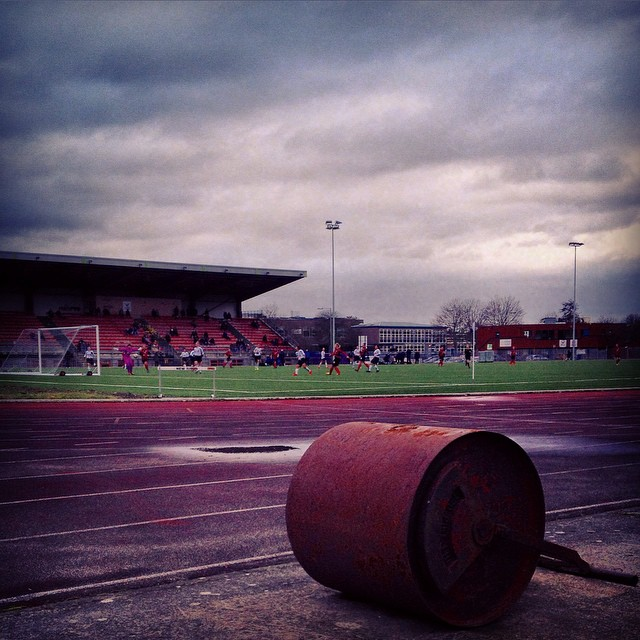 A redundant pitch roller next to the 3G pitch at River End Stadium as Tottenham play Preston in the FA Women's Cup