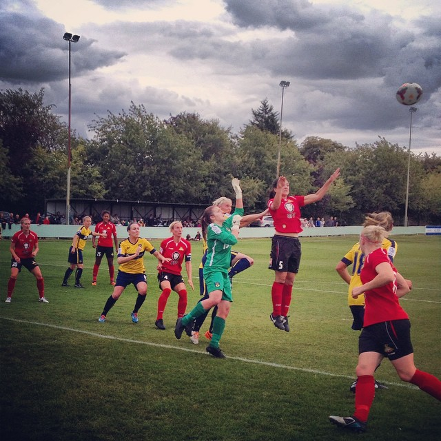 Jess Sigsworth tries to meet a Doncaster Rovers Belles corner during her team's 5-1 win at Pxford United Women in FAWSL2