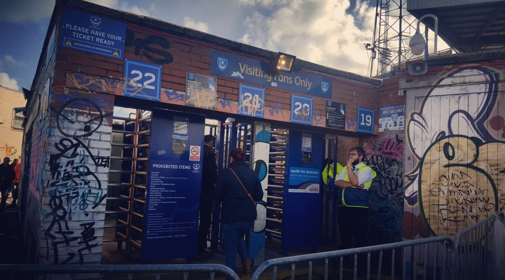 visiting supporters turnstiles at Fratton Park home of Portsmouth FC