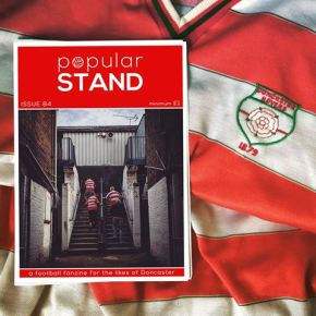 popular STAND fanzine issue 84 front cover on a Doncaster Rovers shirt