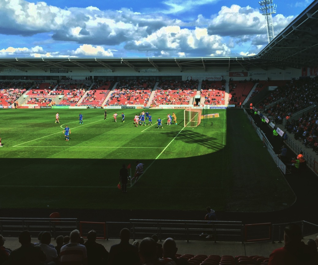 Doncaster Rovers take a corner during the second half of their 0-0 draw with Gillingham at Keepmoat Stadium, August 2017