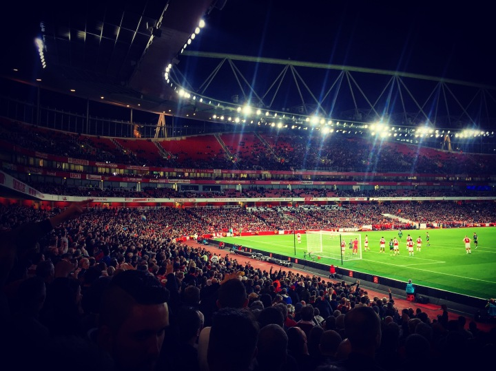 Doncaster Rovers fans watch on as their team force a corner against Arsenal at the Emirates Stadium in the League Cup third round