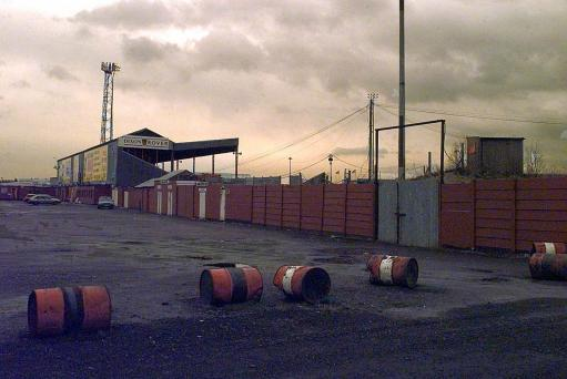 Doncaster Rovers FC's Belle Vue ground, which was set fire to on 29/6/95. Ken Richardson, 61, the main shareholder of the club at the time, was convicted at Sheffield Crown Court of hiring Alan Kristiansen, an ex-SAS soldier, to commit arson for 10,000 pounds.