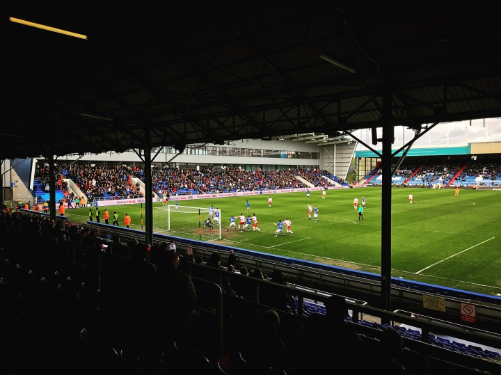 Doncaster Rovers players' attack a corner kick during the goalless away draw at Oldham Athletic' Boundary Park in April 2018