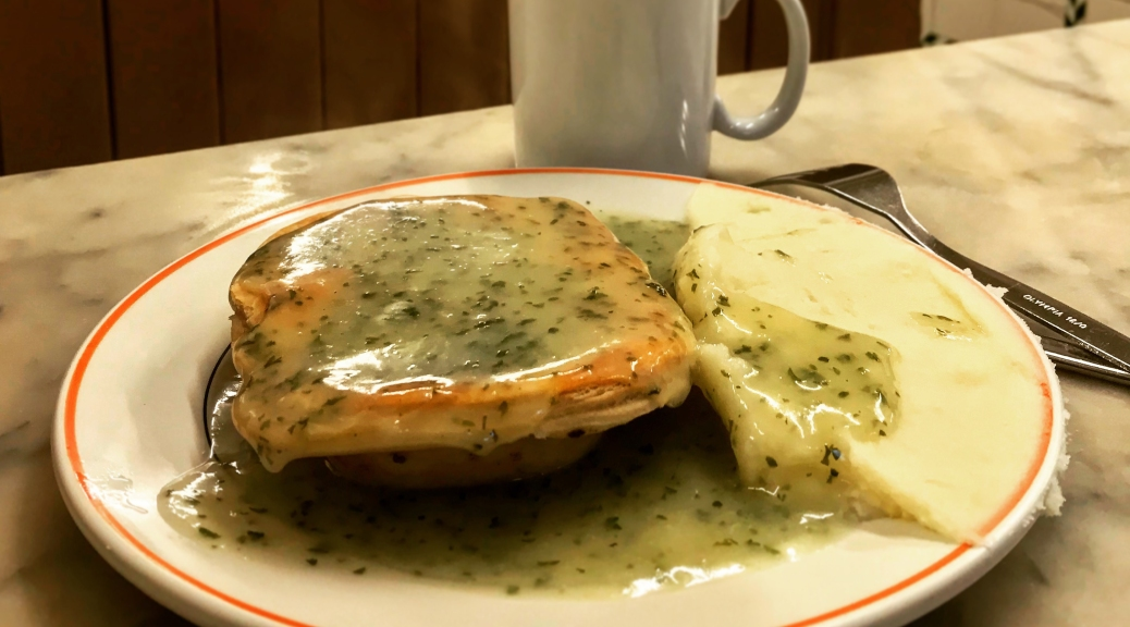 Pie, mash and liqour at Manze's pie and mash shop in Deptford, South London