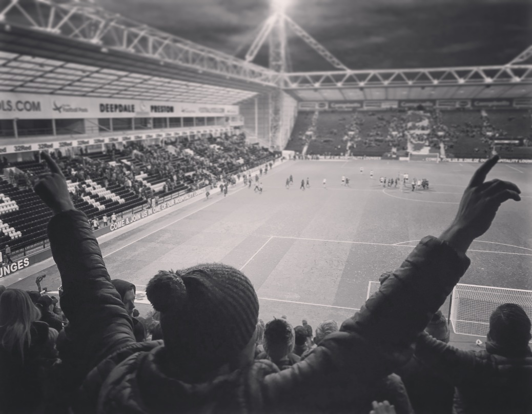A Doncaster Rovers supporter celebrates Rovers' FA Cup 3rd round victory over Preston North End at Deepdale