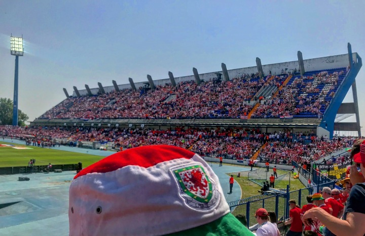 A Wales supporter's hat in front of the main stand at Osijek's Gradski Stadion ahead of the UEFA European Championship Qualifier