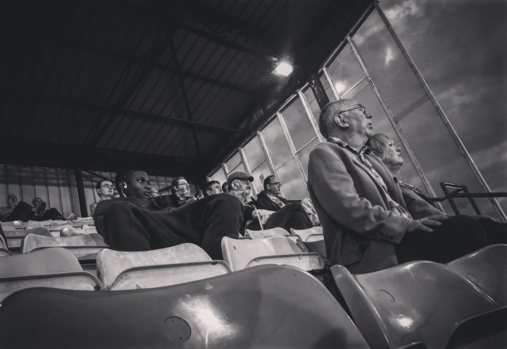 Spectators watch on during the Croydon derby at Croydon Arena in the Southern Counties East League Premier Division