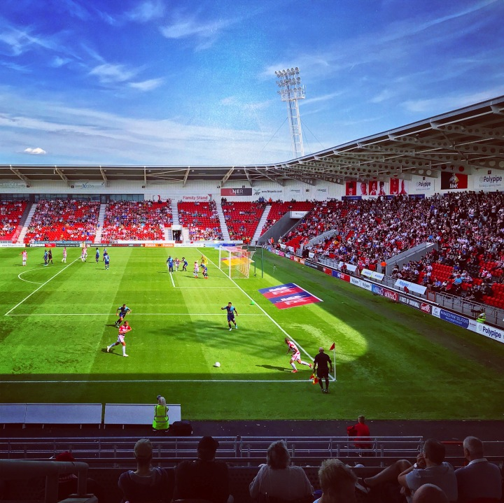 Doncaster Rovers take a short corner in their League One victory over Wycombe Wanderers at Keepmoat Stadium