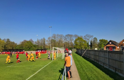 A photographer tries to catch an image of a Glebe corner during the Southern Counties East League Premier Division