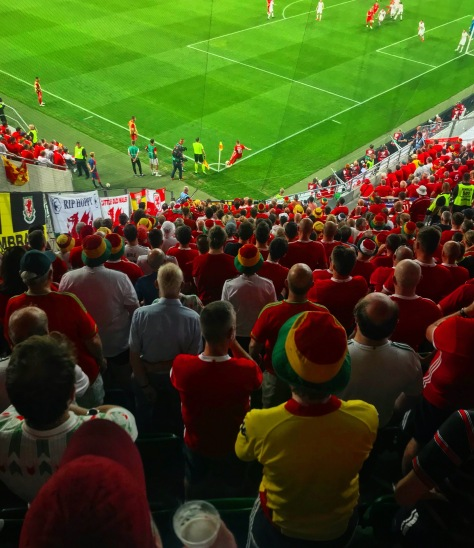 Wales fans watch on in the Groupama Arena as David Brooks takes a corner in the UEFA European Championships Qualifier