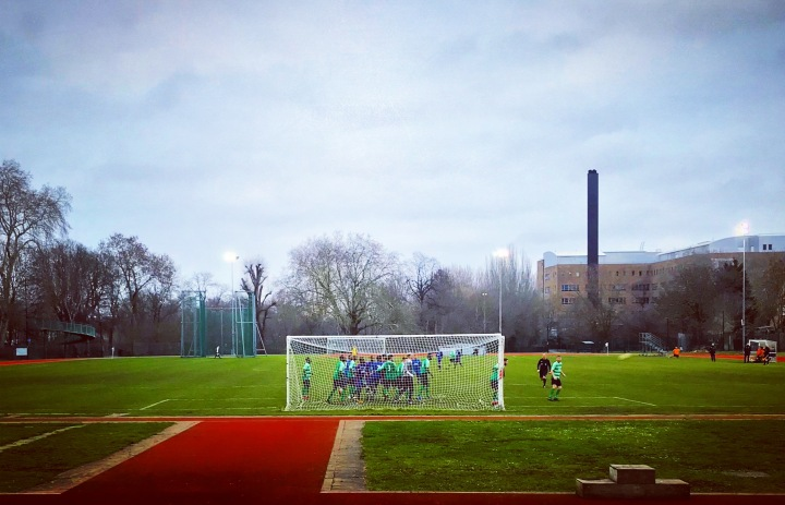 Welling Town defend a corner during their 3-1 win at Lewisham Borough's Ladywell Arena in Southern Counties East League Division One