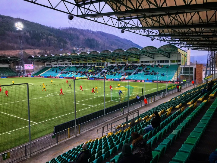 The home side go close to a second goal during the Slovak Premier League game