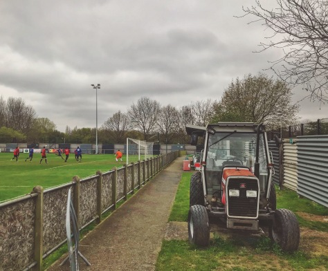 A tractor behind the goal at Bayliss Avenue as SC Thamesmead take on Lewisham Borough in Southern Counties East League Division One