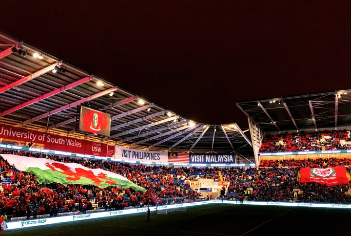 The lights go out ahead of the teams' entrance to the Cardiff City Stadium for the Nations League tie between Wales and Denmark