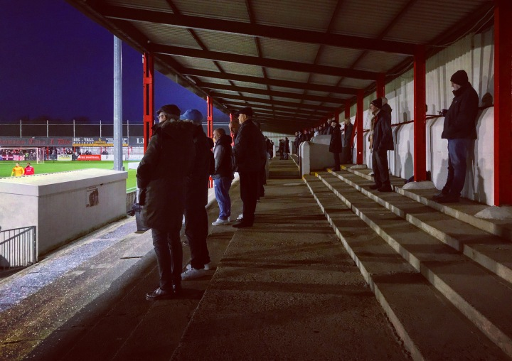 The terrace at Carshalton Athletic's War Memorial Sports Ground