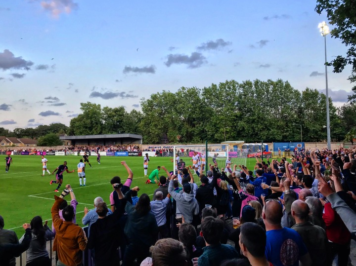 Dulwich Hamlet fans celebrate their team's goal against Wealdstone in their first home game of the 2019-20 season