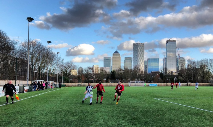 Fisher host Glebe against a back drop of the towers of London's financial district