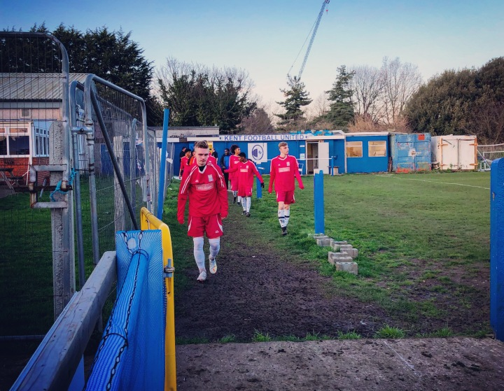 Lewisham Borough's players return for the second half at Kent Football United