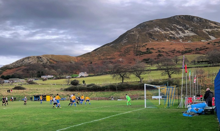 Football in the shadow of the mountains at Penmaenmawr Phhoenix's Cae Sling ground
