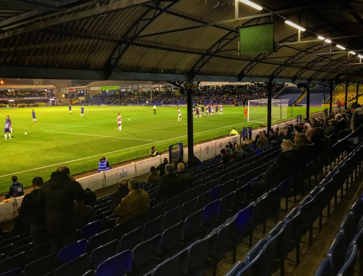 The away end at Roots Hall during Southend United versus Doncaster Rovers
