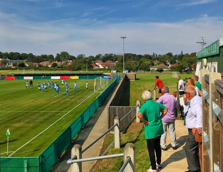 VCD Athletic officials watch on during an FA Cup game against AFC Uckfield Town