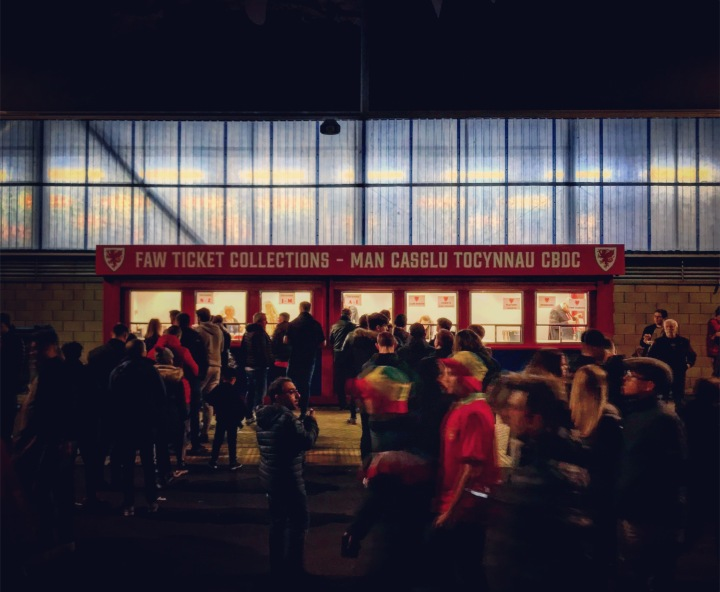 Wales fans collect tickets for the home match against Croatia