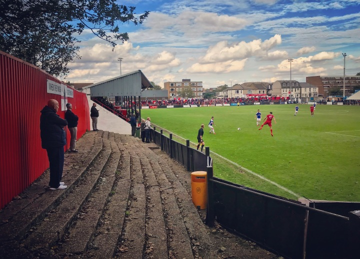 Home fans watch on as Welling United play Tavistock in the FA Cup