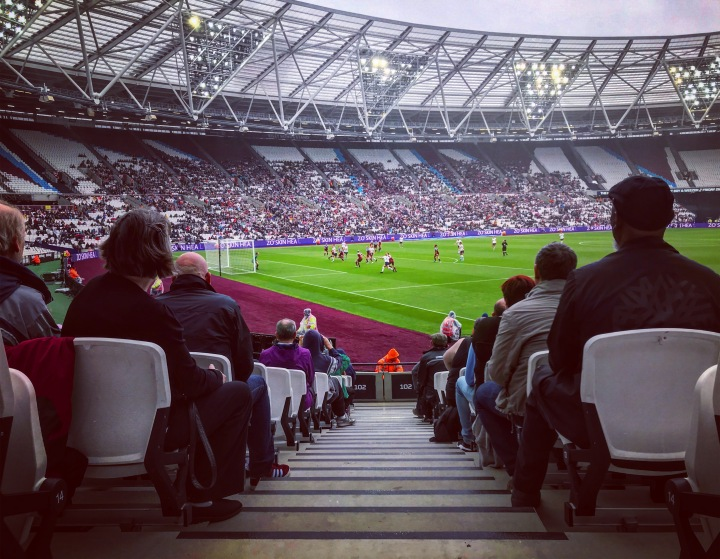West Ham United play Tottenham Hotspur in the Women's Super League at the London Olympic Stadium