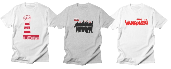 examples of three t-shirt designs from the popular STAND shop