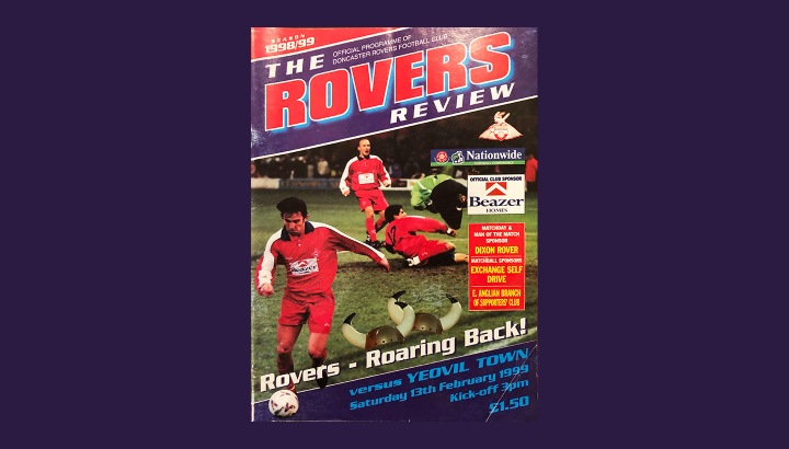 Front cover of the matchday programme for Doncaster Rovers v Yeovil Town in February 1999